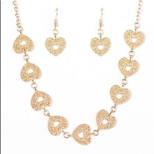 """Hearts Harmony"" Gold Necklace & Earrings Set"